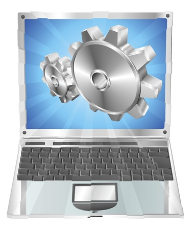 Gear cogs flying out of laptop screen tune up or settings application concept illustration.  Vector