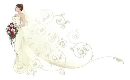 ウェディングドレス: 抽象的なパターンの背景に形成の美しいウェディング ドレスの花嫁  イラスト・ベクター素材