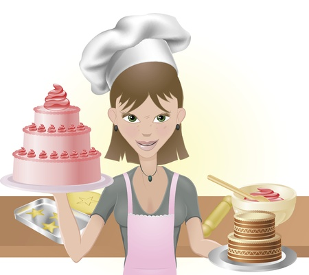 confection: Young attractive woman holding two cakes. One pink one chocolate with chef hat and baking utensils