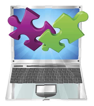 Jigsaw puzzle pieces flying out of a stylish laptop computer. Computer application concept. Vector