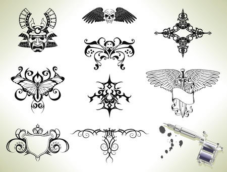 Series set of tattoo flash design elements with tattooists gun or machine Stock Vector - 9440076