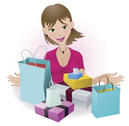 A woman that is very happy with all her purchases Stock Vector - 9440078