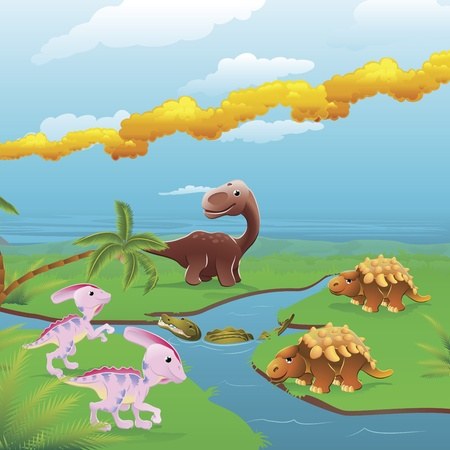 Cute dinosaurs in prehistoric scene. Series of three illustrations that can be used separately or side by side to form panoramic landscape. Vector