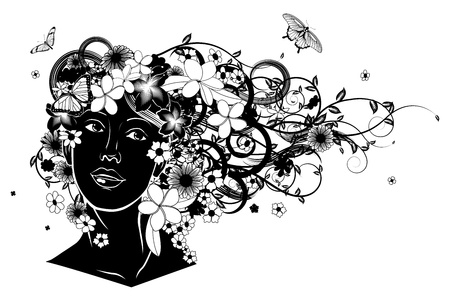 facing: Beautiful woman with hair made of flowers with butterflies. Illustration
