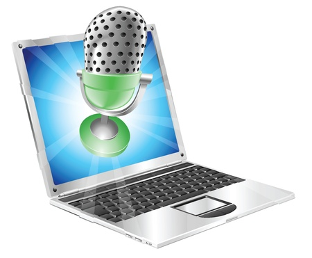 A microphone flying out of laptop screen. Concept for anything relating to online or computer recordings or music Stock Vector - 9529635