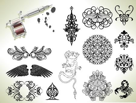 farfalla tatuaggio: Set di serie di elementi flash design tatuaggio con tatuatori pistola o macchina Vettoriali