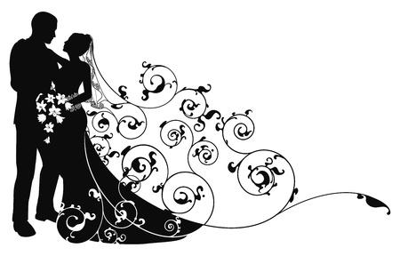 braut und bräutigam: Braut und Br�utigam auf der Suche in anderen Augen abstrakt Hintergrund Muster silhouette