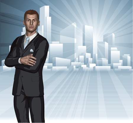 scraper: Confident young businessman in front of city skyline background concept