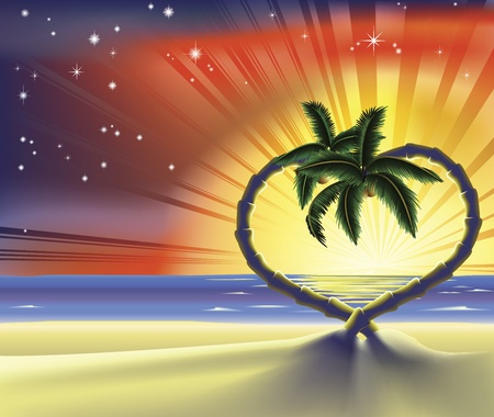 shaped: Illustration of a romantic beach scene with heart shaped palm trees at sunset