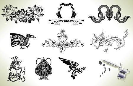 tatouage dragon: S�rie ensemble d'�l�ments de conception de tatouage flash avec arme tatoueurs ou d'une machine