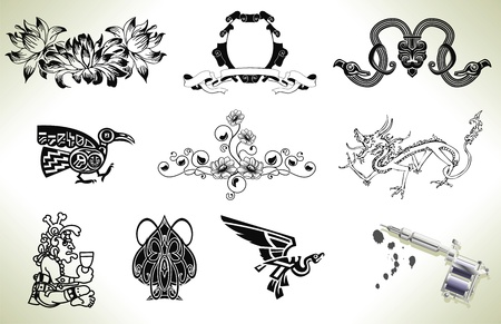 Series set of tattoo flash design elements with tattooists gun or machine Vector