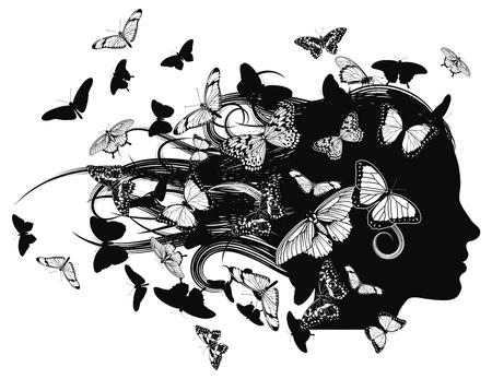 A beautiful woman with hair made up of or covered with butterflies. Vector