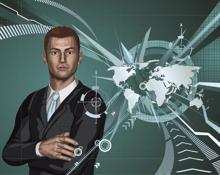 Confident young businessman in front of abstract world map background concept Vector