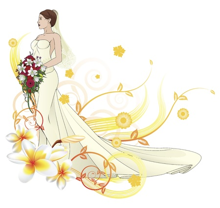 plumeria flower: Bride in beautiful wedding dress forming with floral design elements