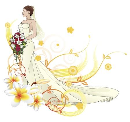 suknia ślubna: Panna mÅ'oda w piÄ™knym Å›lubny elementy projektu kwiatowym, z Ilustracja