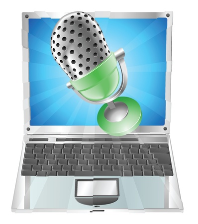 relating: A microphone flying out of laptop screen. Concept for anything relating to online or computer recordings or music