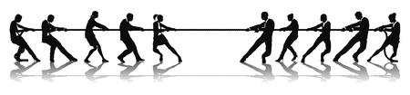 konflikt: Działalności osób Przeciąganie liny konkurencji koncepcji. Zespoły przedsiębiorstw zaangażowanych w liny ciągnięcie contest badanie.