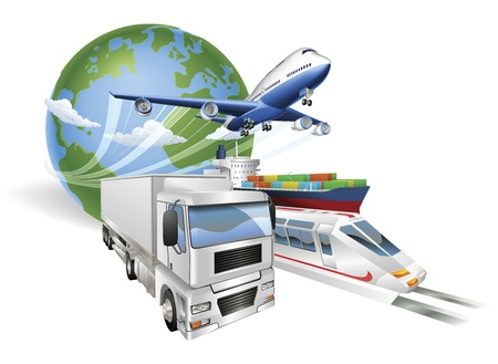 logistics world: Global logistics concept illustration.. Globe, airplane (aeroplane), truck, train and cargo container ship.
