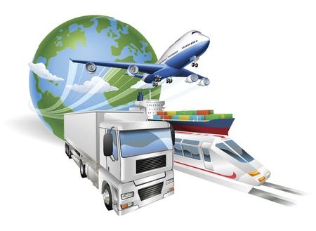 Illustrazione di concetto di logistica globale... Globo aeroplano (aeroplano), camion, treno e cargo portacontainer. Vettoriali