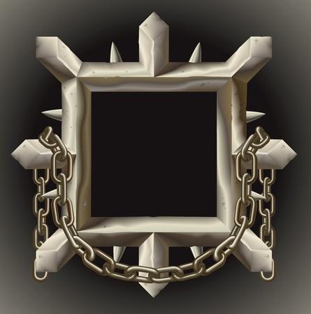 spikes: Un borde de marco de metal oxidado grunge con espigas