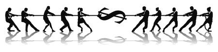 tug o war: Empresarios lucha por dinero o estiramiento dinero de moneda d�lar firman el concepto de tira y afloja.
