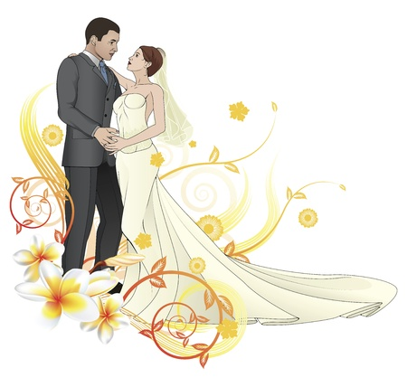 groom and bride: Bride and groom looking into each others eyes dancing abstract floral background Illustration