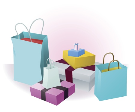 gift bags: Stacks of luxury shopping purchases or gifts Illustration