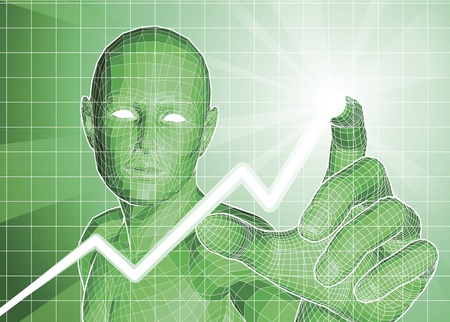 touch screen interface: Futuristic green figure tracing upwards trend on graph.