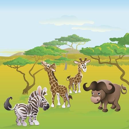 selva caricatura: Escena de personajes de dibujos animados animales lindo safari africano. Serie de tres ilustraciones que pueden ser usados por separado o al lado de paisaje panor�mico de formulario.