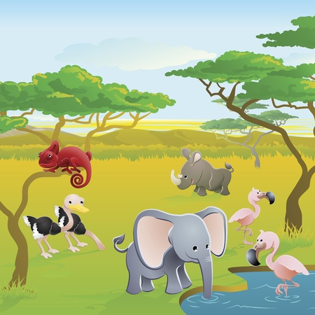 waterhole: Cute African safari animal cartoon characters scene