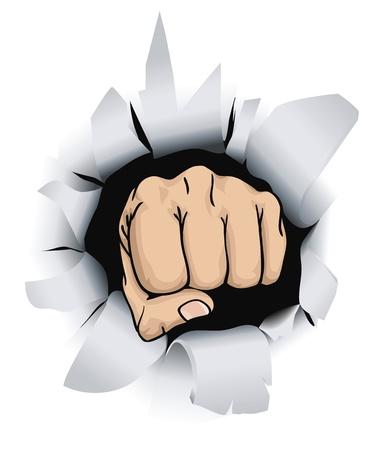 tårar: An illustration of a fist breaking through a wall, conceptual piece