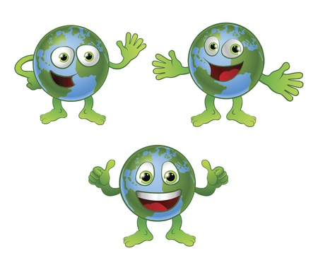 anthropomorphic: A cute happy fun globe world cartoon character in various poses. Illustration
