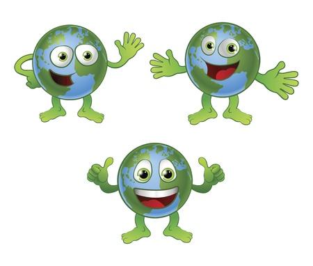 mani terra: Un divertimento felice carino globo personaggio dei cartoni animati di mondo in varie pose.