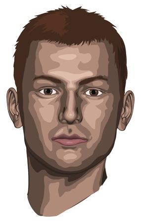 omini bianchi: Ritratto di un giovane uomo bello Vettoriali