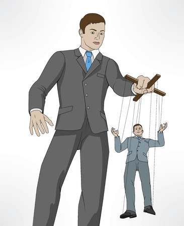Conceptual illustration. Business man controlling other business man like a puppet on a string. Vector