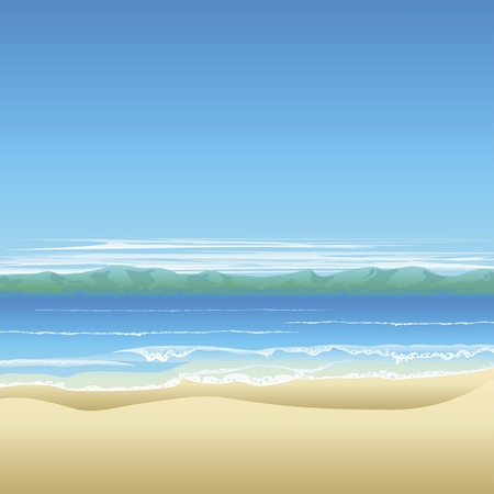 coast: Tropical beach background illustration with land in distance and lots of copyspace.