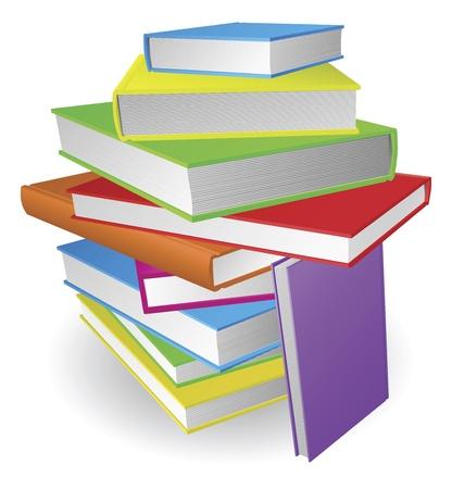 databank: Een illustratie van een grote stapel kleurrijke boeken