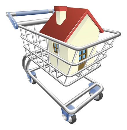 home buyer: An illustration of a shopping cart trolley with house Illustration