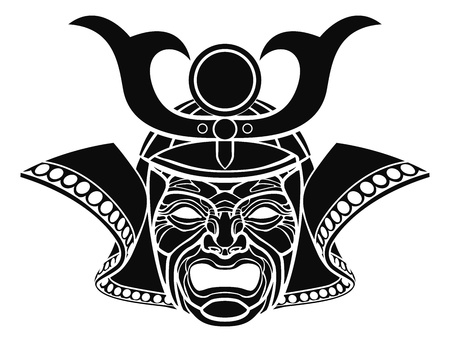 An illustration of a fearsome monochrome samurai mask Vector