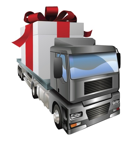 shipments: An illustration of a lorry truck carrying a giant gift