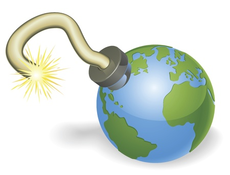judgement day: Time bomb in shape of  world globe. Countdown due to environmental or other crisis e.g. judgement day or end of the world.