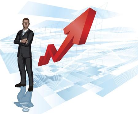 stock trader: Confianza empresario joven de concepto de fondo de flecha resumen gr�fico