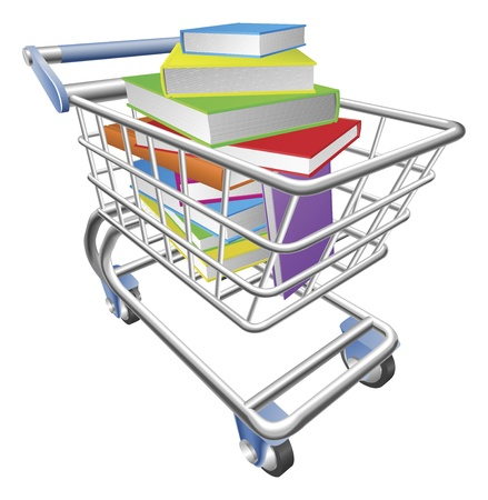 online book: An illustration of a shopping cart trolley full of books