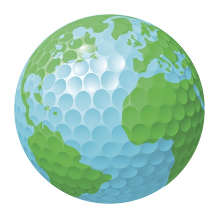 Conceptual illustration. Golf ball world globe Vector