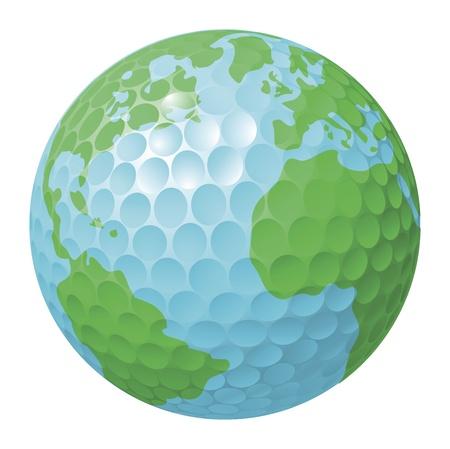 torneio: Conceptual illustration. Golf ball world globe