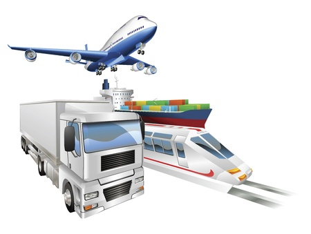 global logistics: Logistics concept illustration, airplane, truck, train and cargo container ship.