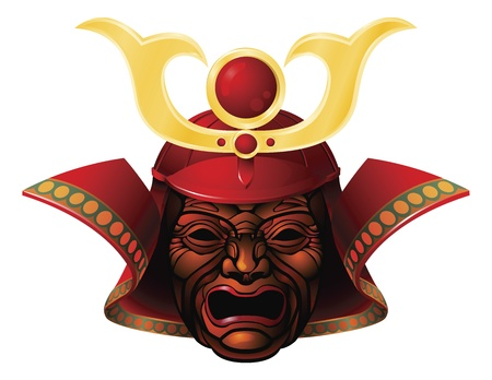 An illustration of a fearsome red and yellow samurai mask Vector
