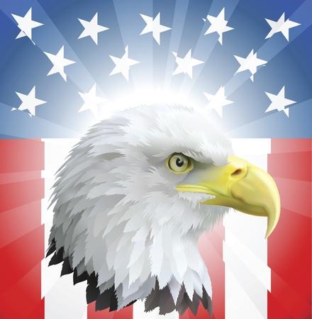 aguila real: Un fondo con American eagle y fondo de estrellas y franjas Vectores