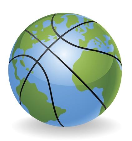 canestro basket: Mondo globo basket ball palla concetto illustrazione