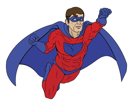 Illustration of  a super hero man dressed in red and blue costume with cape flying through the air